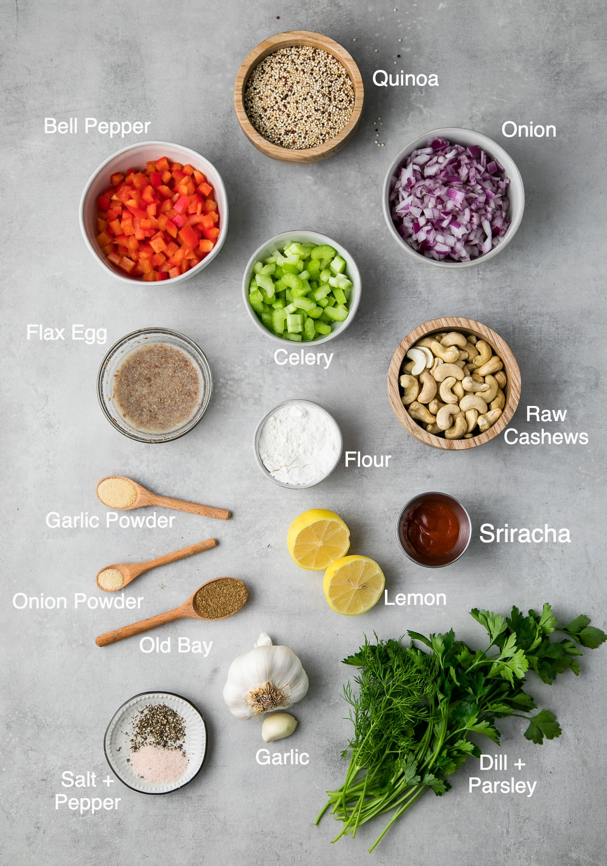 top down view of ingredients used to make crispy cajun quinoa cakes with lemon-dill remoulade.