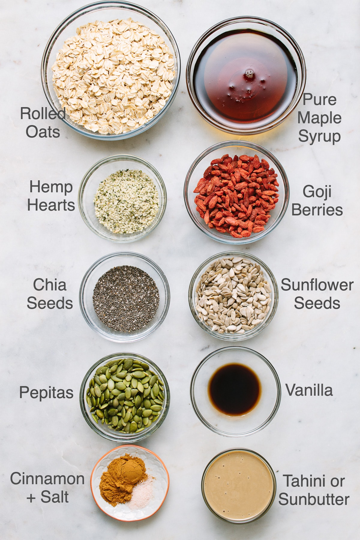 top down view of all ingredients needed to make seeds and goji berry granola.