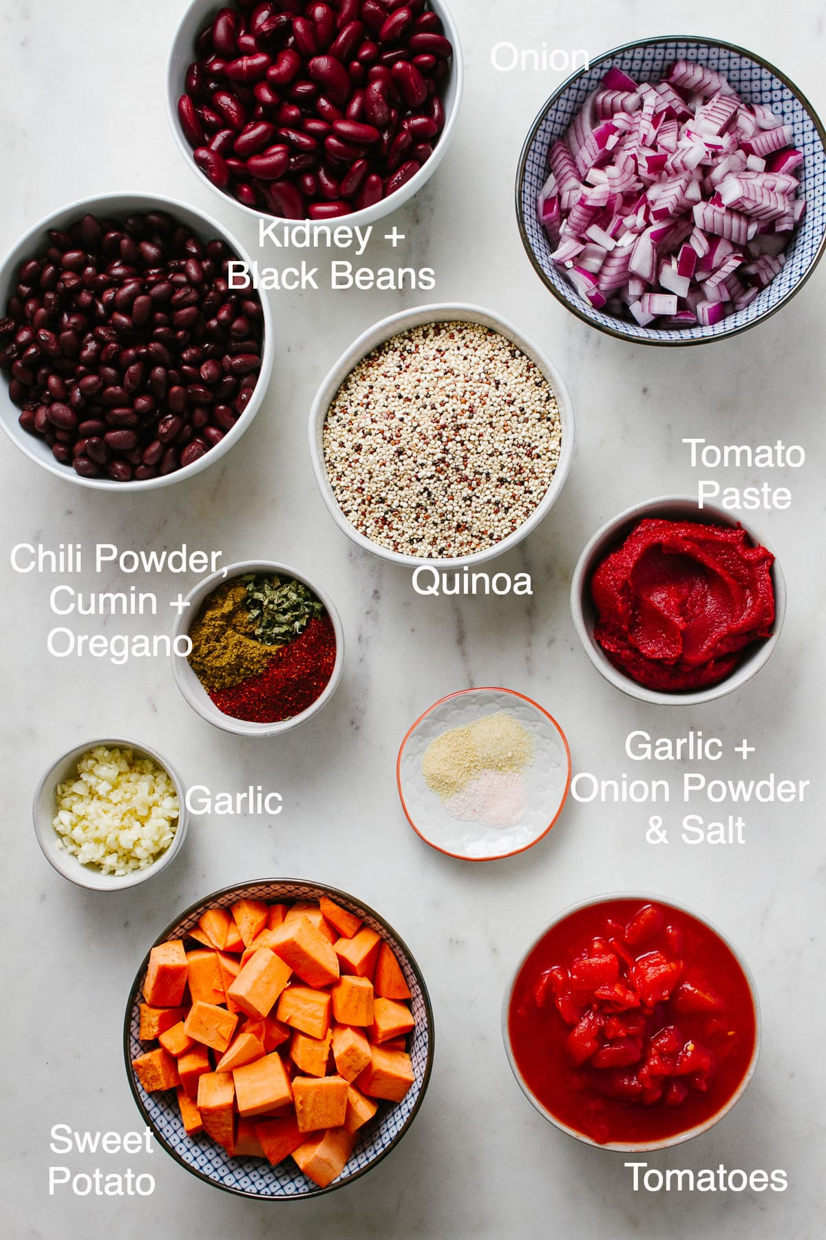 top down view of ingredients needed to make healthy sweet potato quinoa chili recipe.