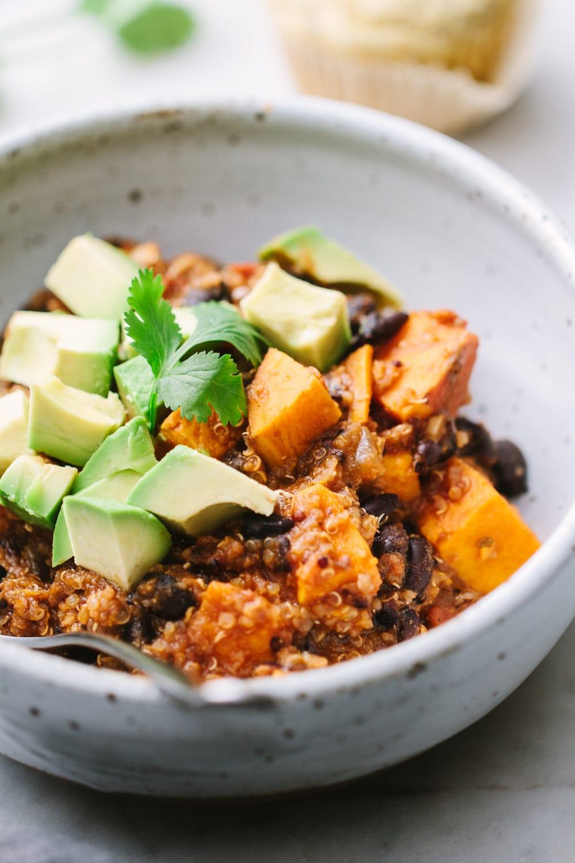 side angle view of healthy vegan sweet potato and quinoa chili.