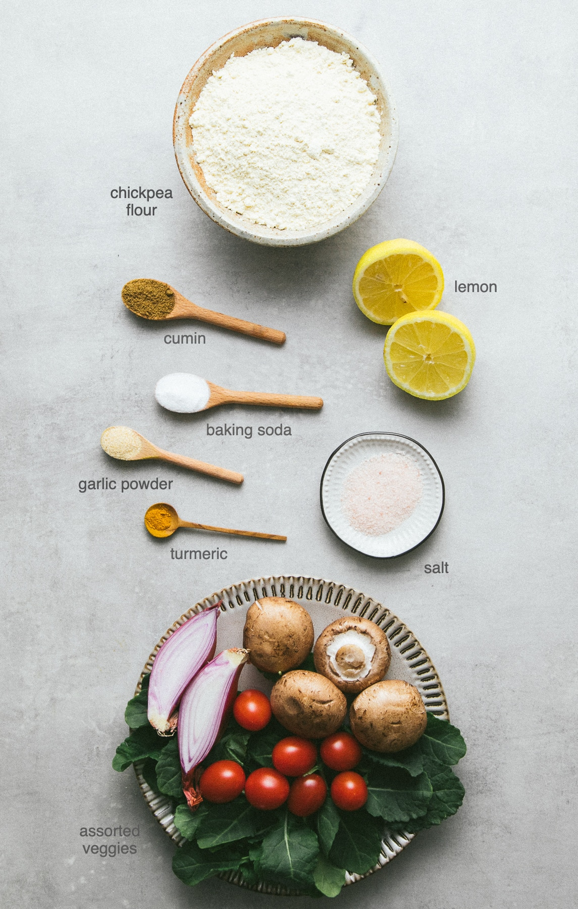top down view of ingredients used to make savory chickpea flour pancakes.