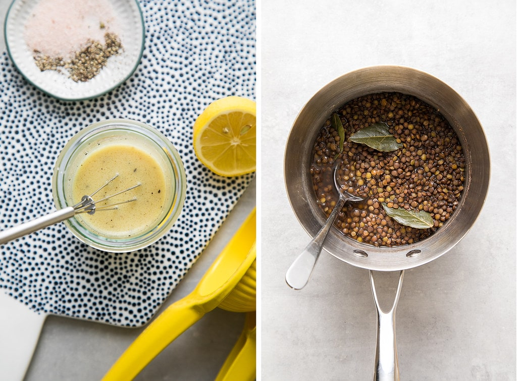 side by side photos showing finished dressing and cooked french lentils.