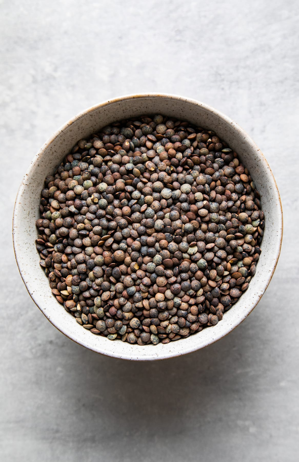 top down view of a bowl of dried french lentils.