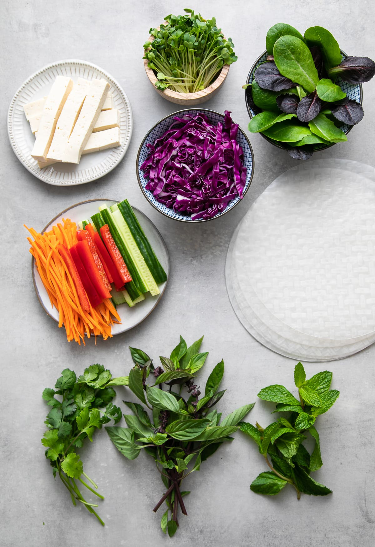 top down view of the ingredients used to make summer spring rolls.