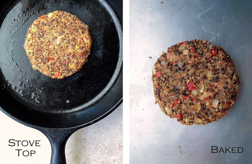 top down view of process of cooking quinoa white bean veggie patties on the stovetop or oven.