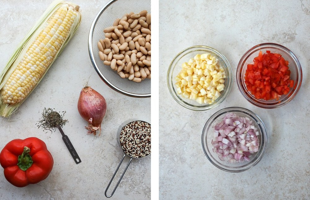 side by side, top down view of ingredients for quinoa white bean veggie burgers before and after being prepped.