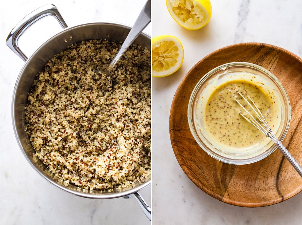 side by side photos of cooked quinoa and mustard dressing.