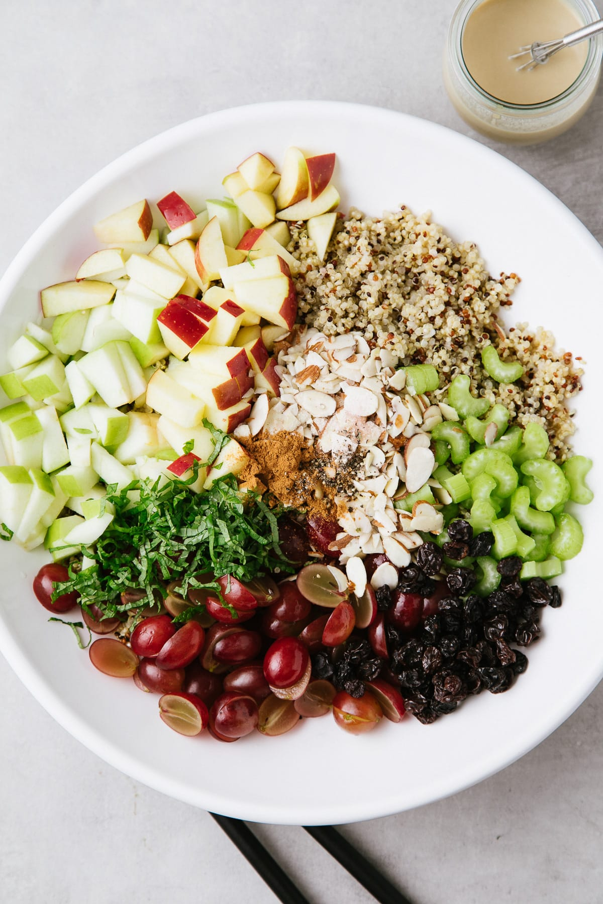 top down view of ingredients added to a bowl and ready to mix.