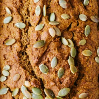 healthy pumpkin bread upclose