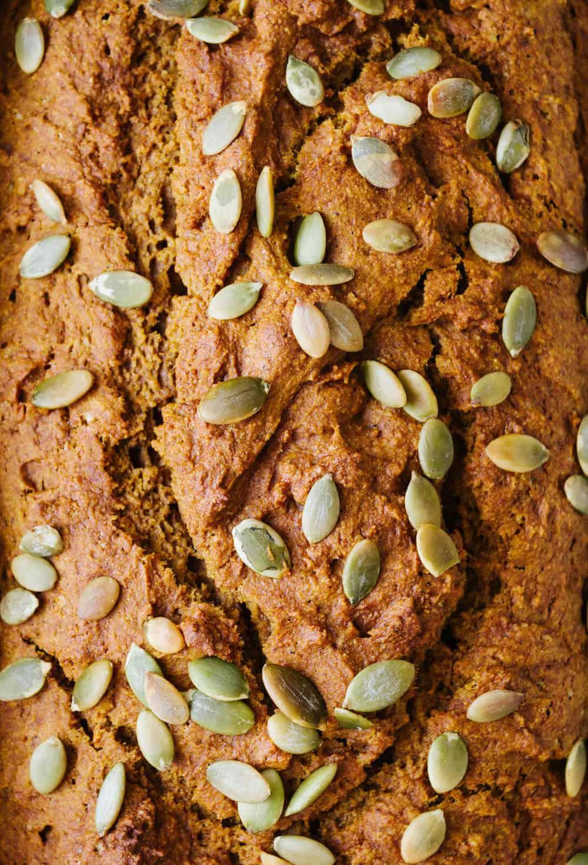 healthy pumpkin bread upclose