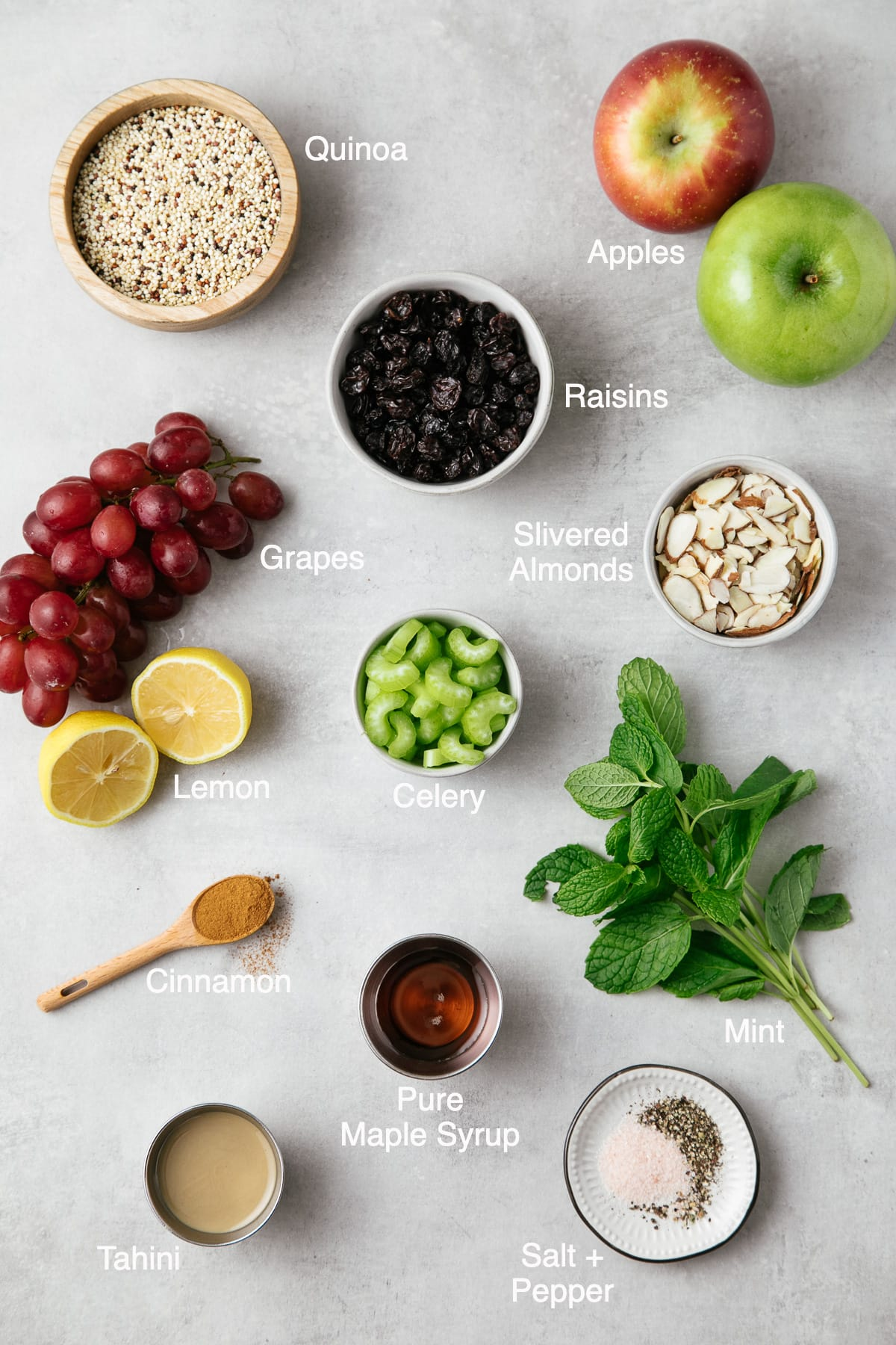 top down view of the ingredients used to make apple quinoa salad.