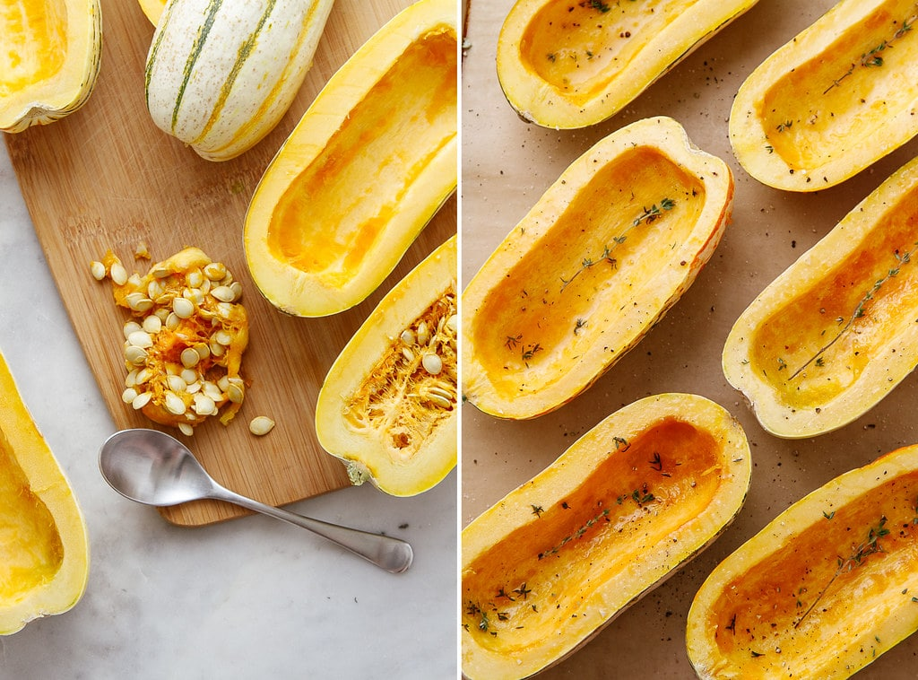 side by side photos showing the process of prepping delicata squash for roasting.