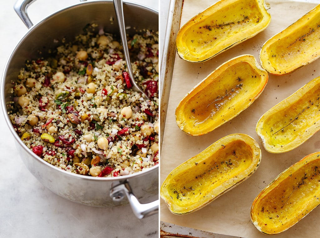 side by side photos of stuffed delicata stuffing and roasted squash.