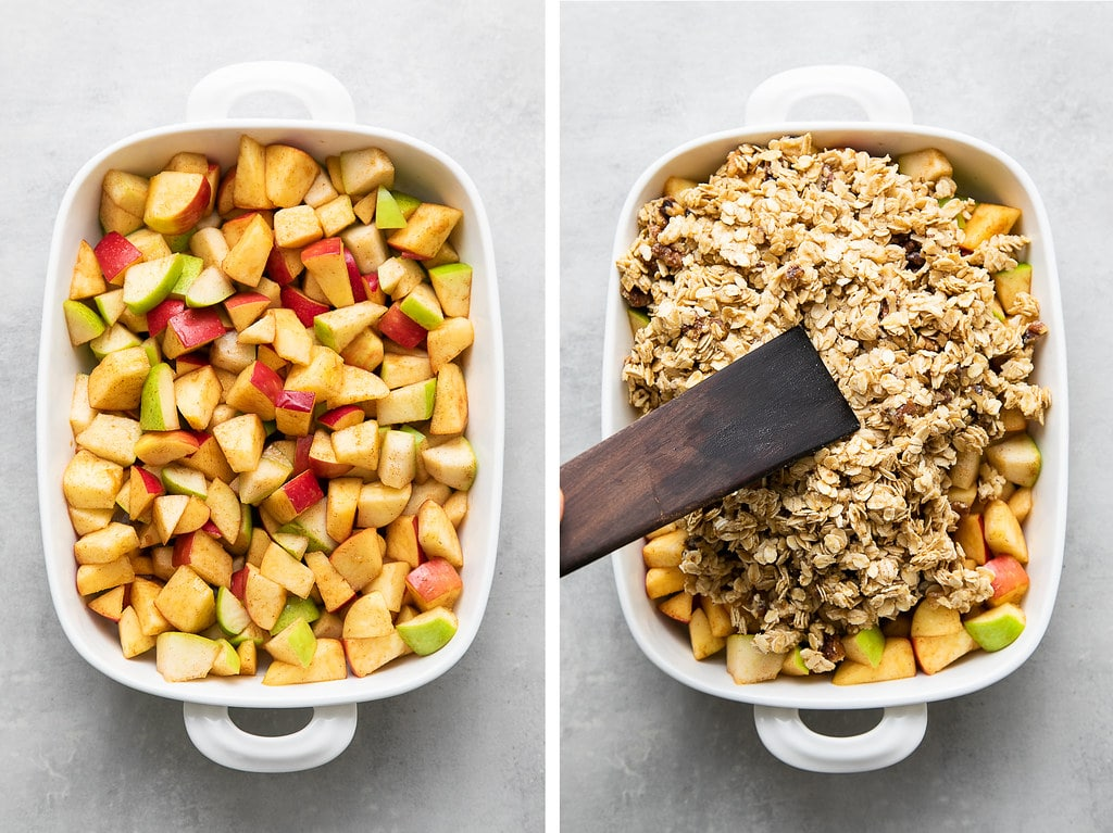 side by side photos showing the process of making quick and easy apple pear crisp.