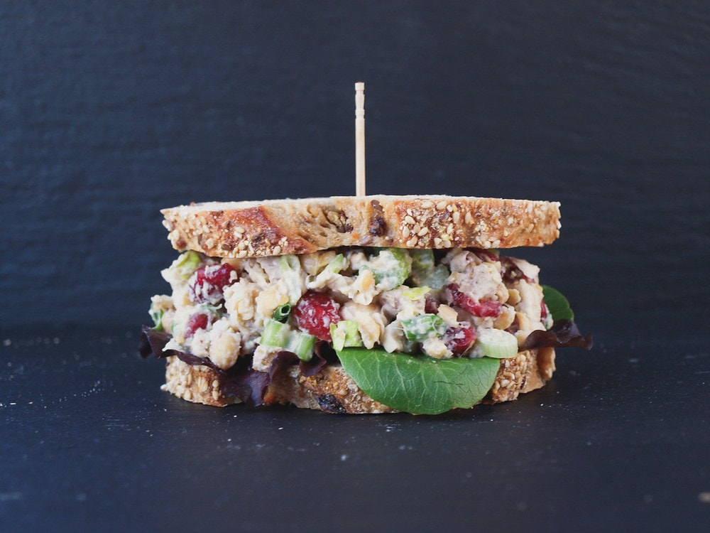 cranberry walnut chickpea salad sandwich