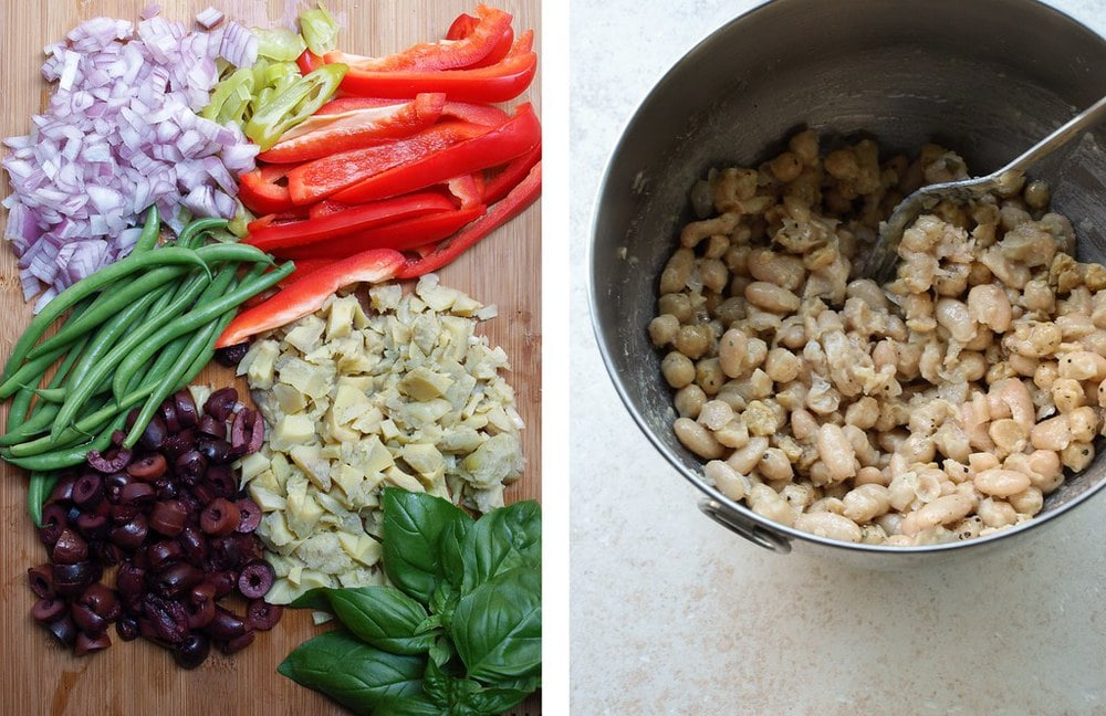 top down view of ingredients for white bean nicoise salad and bowl of partially mashed white beans.