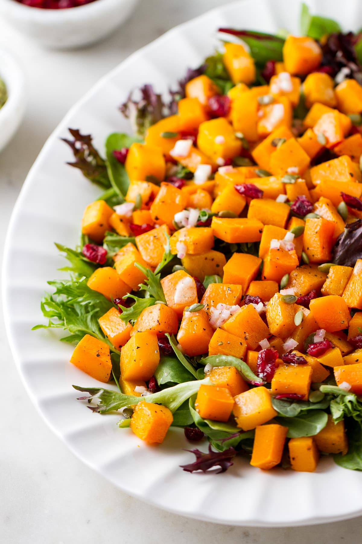side angle view of butternut squash salad with cranberries and shallot vinaigrette on a serving platter.