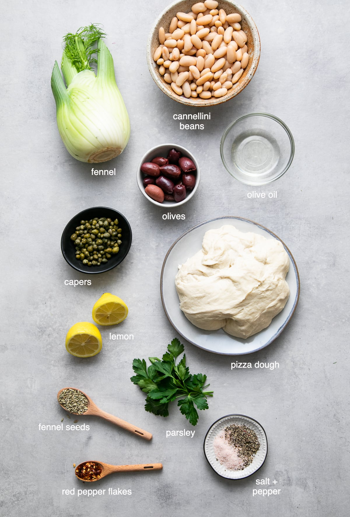 top down view of ingredients used to make cannellini fennel flatbread.