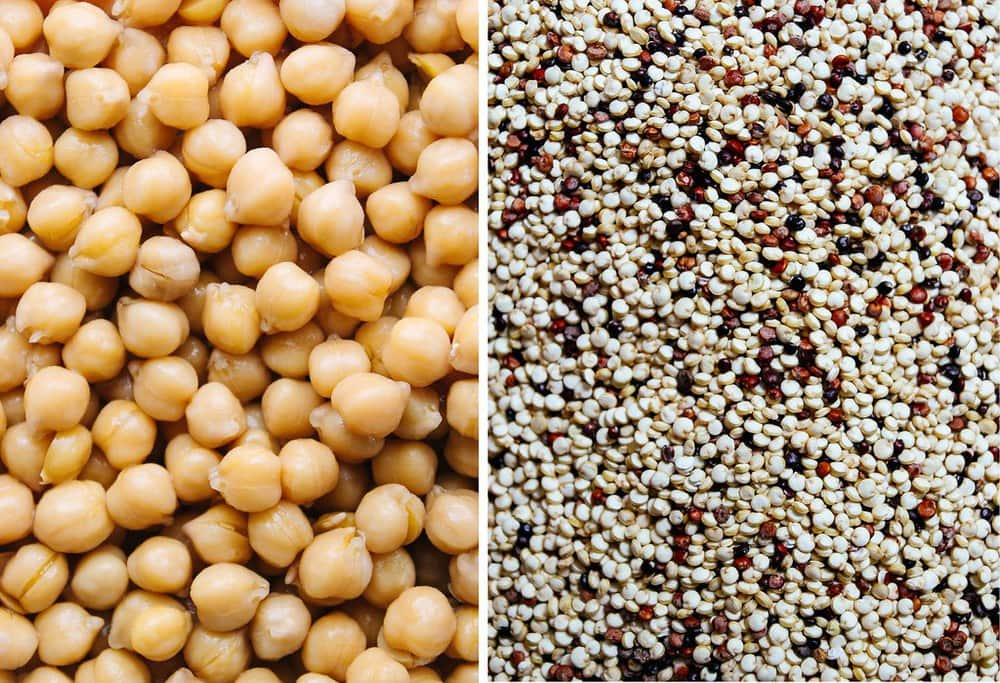 up close, side by side, picture of cooked chickpeas and dried quinoa