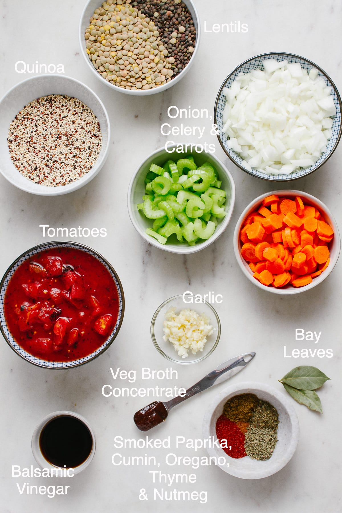 top down view of the ingredients needed to make homemade smoky lentil and quinoa soup.
