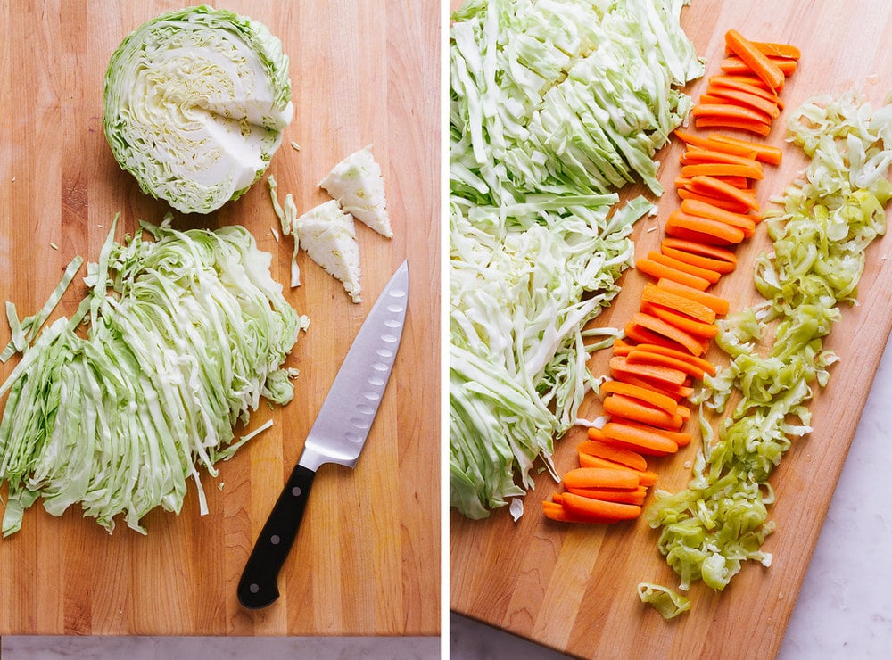 side by side of cabbage, cored and cut thin, next to prepped cabbage, carrots and pepperoncinis on a wooden cutting board.