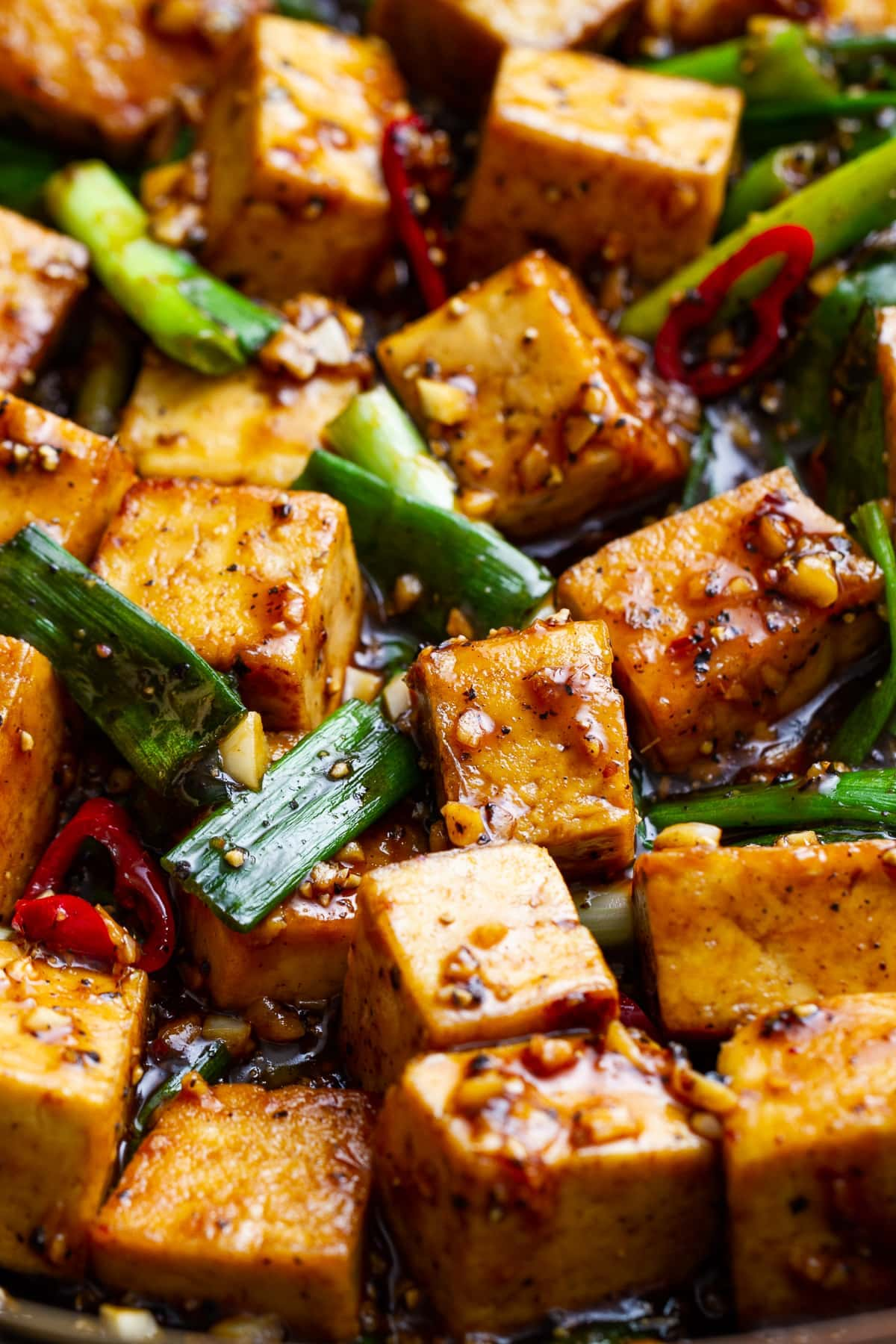 up close view of healthy black pepper tofu.