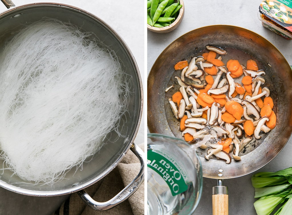 side by side photos showing the process of making mung bean noodles and miso soup with veggies.