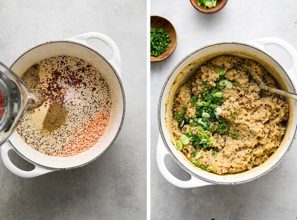 side by side photos showing the process of making quinoa lentil wraps filling.