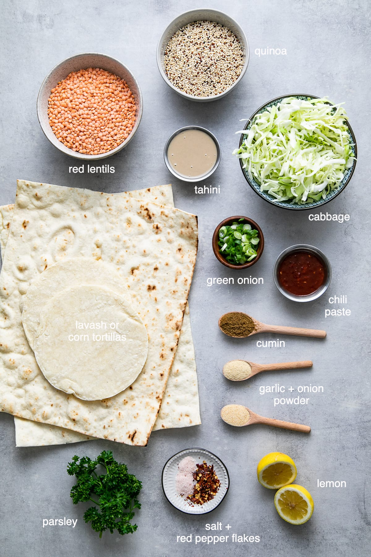 top down view of ingredients used to make spicy quinoa lentil wraps.