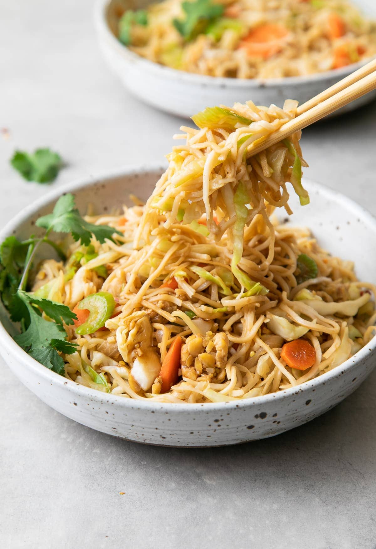 side angle view showing chow mein being held with chop sticks.