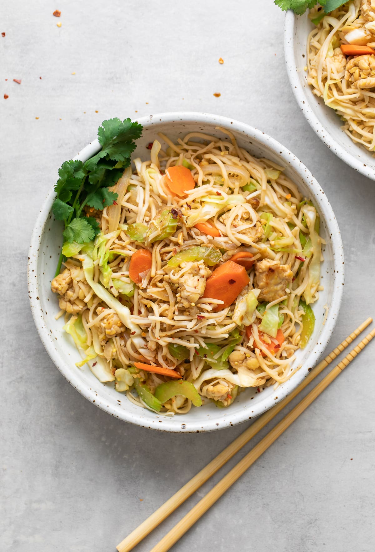 top down view of bowl with serving of healthy tempeh chow mein with items surrounding.