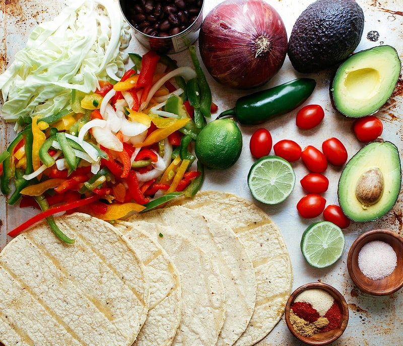 Black Bean Fajitas + Guacamole: Ingredients
