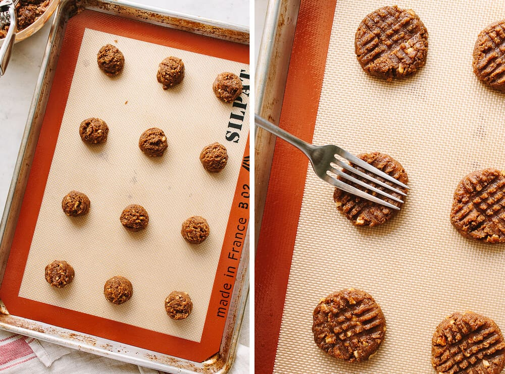 side by side photo of process of making 4 ingredient almond butter cookies for baking.