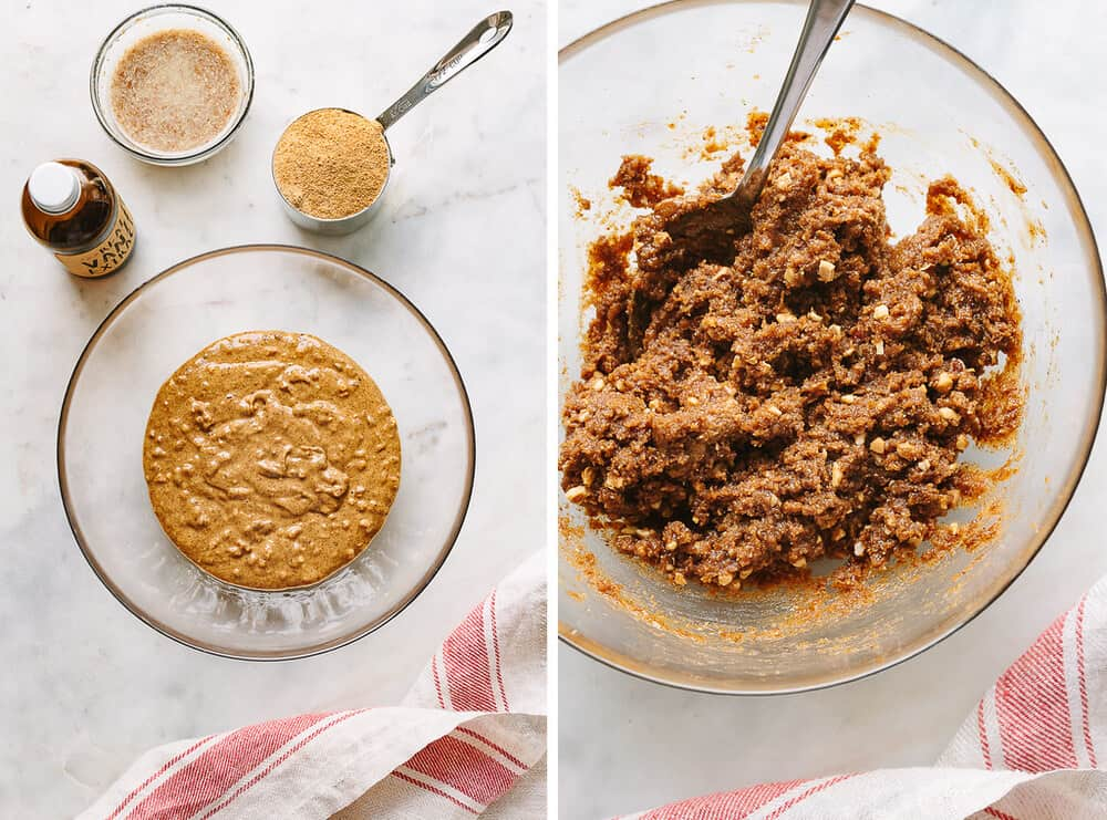 side by side photos of the process of making the dough for almond butter cookies.