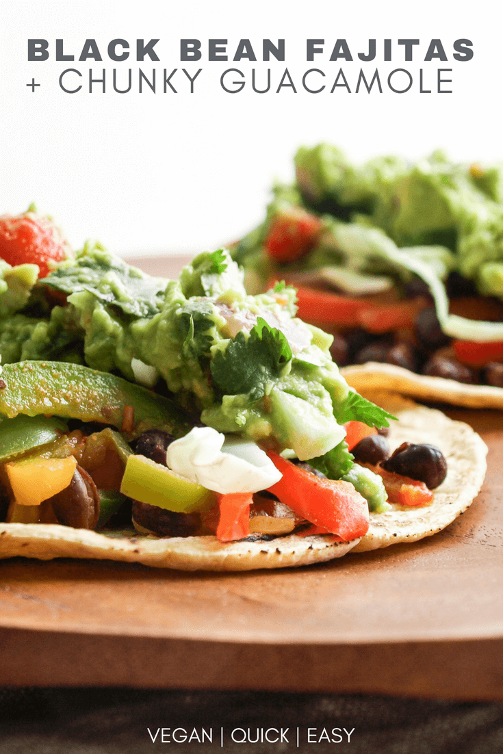 black bean fajitas and chunky guacamole on a warmed corn tortilla