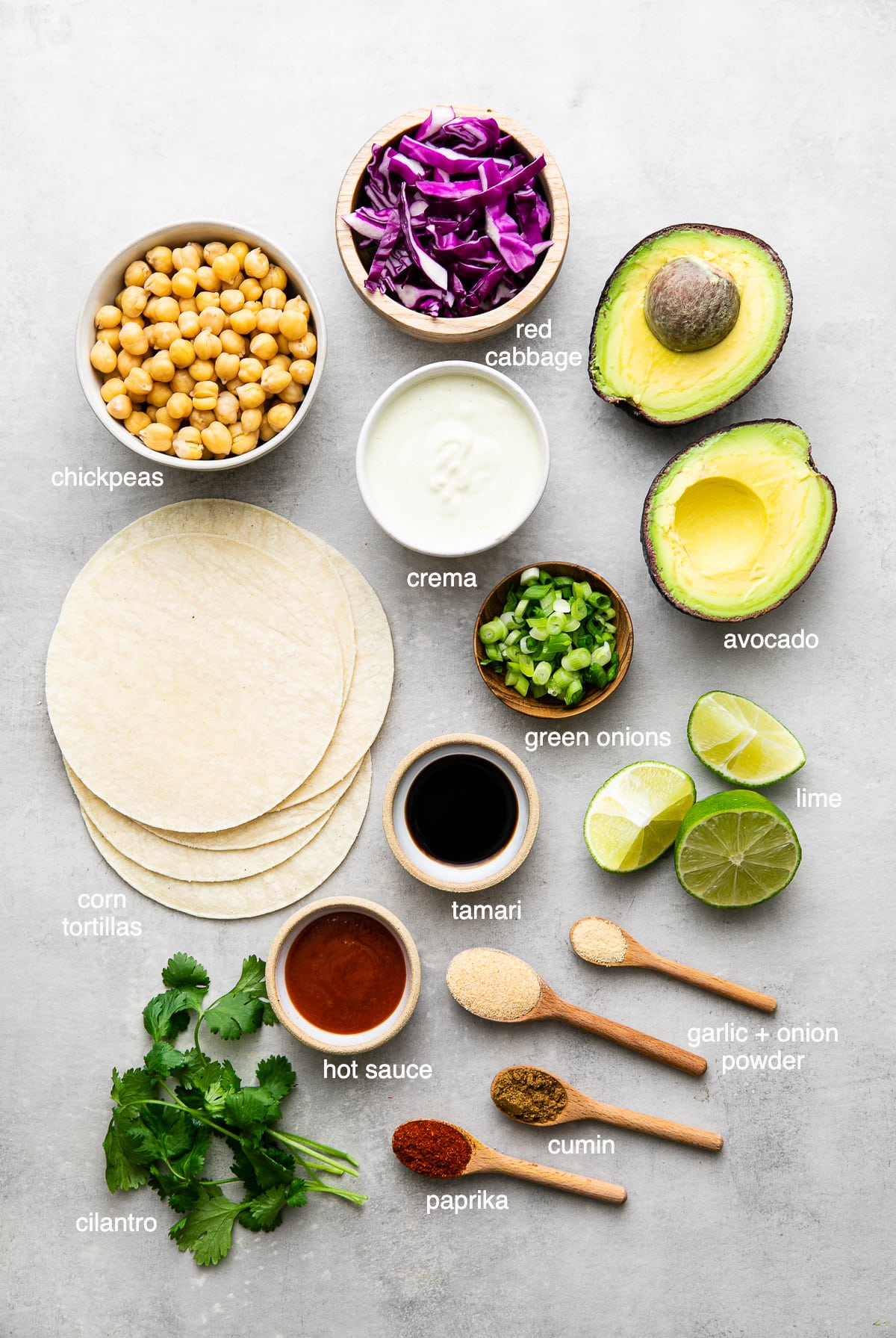 top down view of ingredients used to make the best buffalo chickpea tacos.