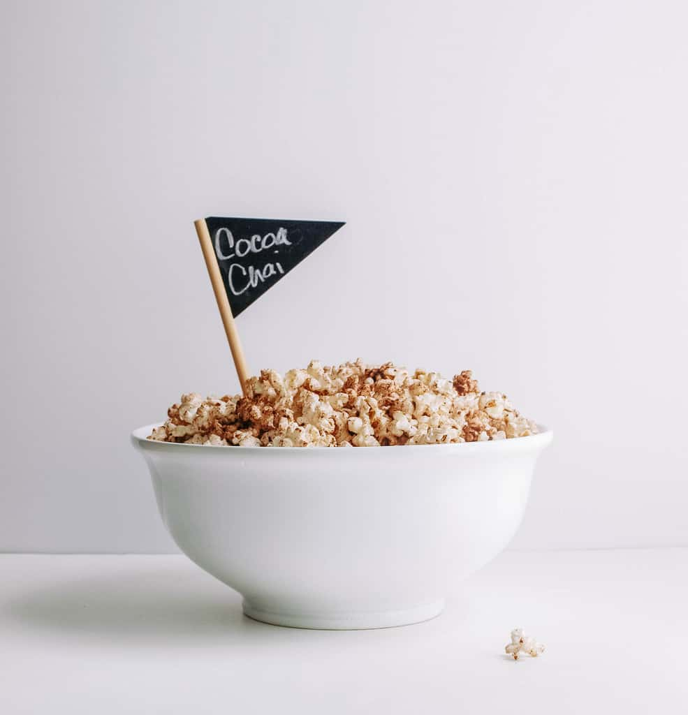 CHOCOLATE CHAI POPCORN IN BOWL