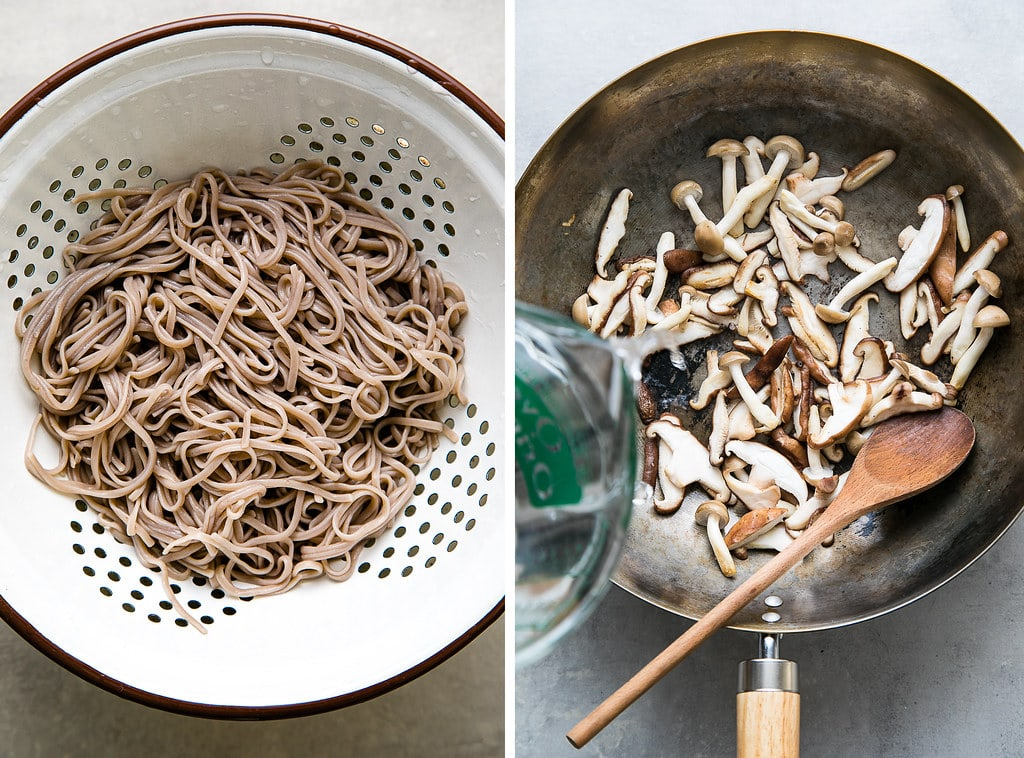 side by side photos of cooked soba noodles and sauteed mushrooms in a wok with water being added.