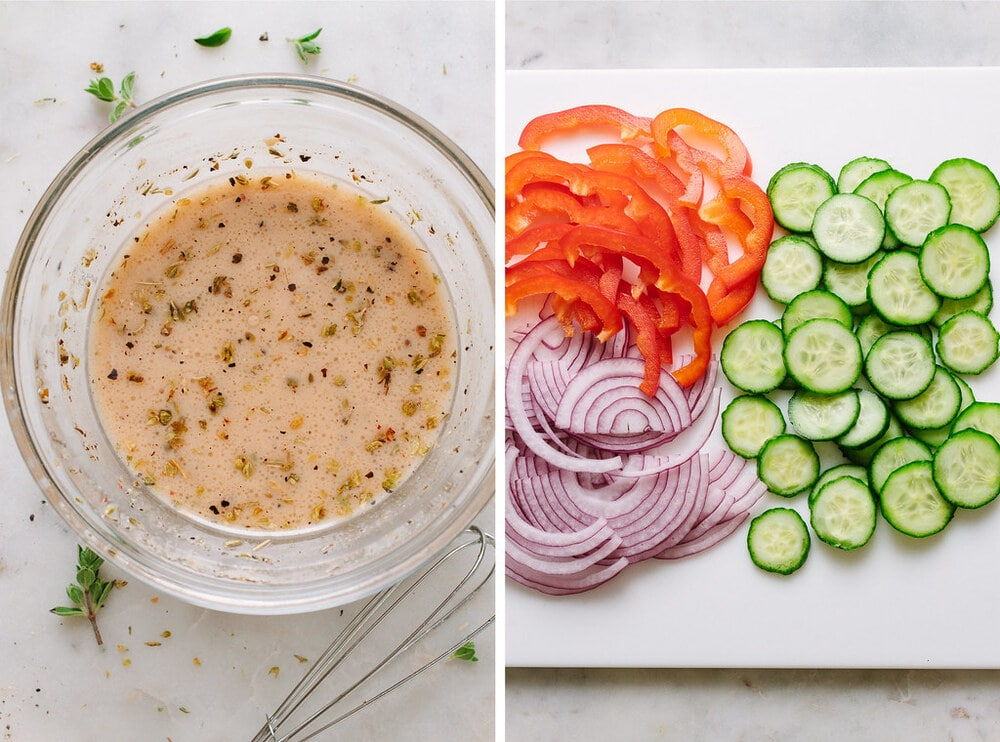 top down, side by side pic of dressing for mediterranean kale salad next to photo of sliced veggies.