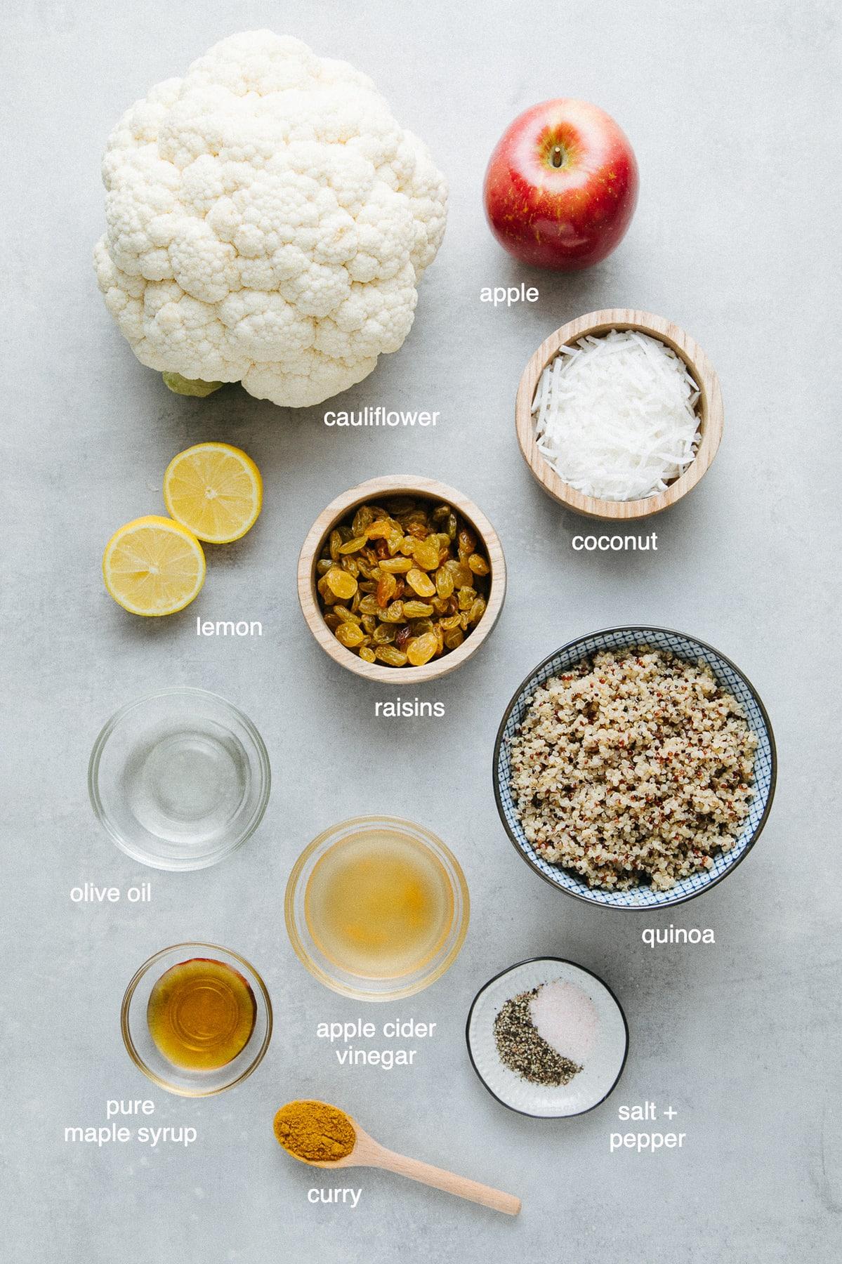 top down view of ingredients used to make curried cauliflower salad.