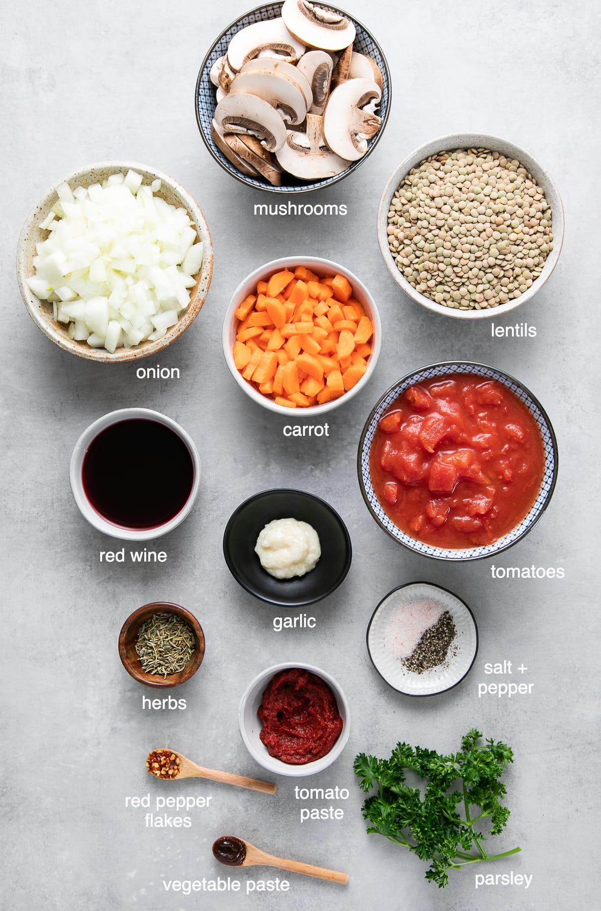 top down view of ingredients used to make mushroom and lentil ragu.