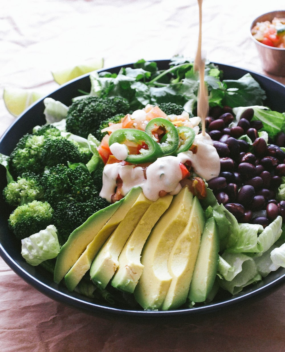 BLACK BEAN, BROCCOLI & AVOCADO SALAD + CUMIN LIME TAHINI DRESSING