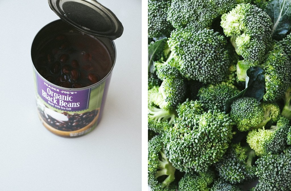 side by side photos of canned black beans and broccoli.