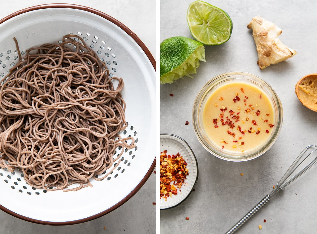 side by side photos showing the process of making soba noodles and miso dressing.