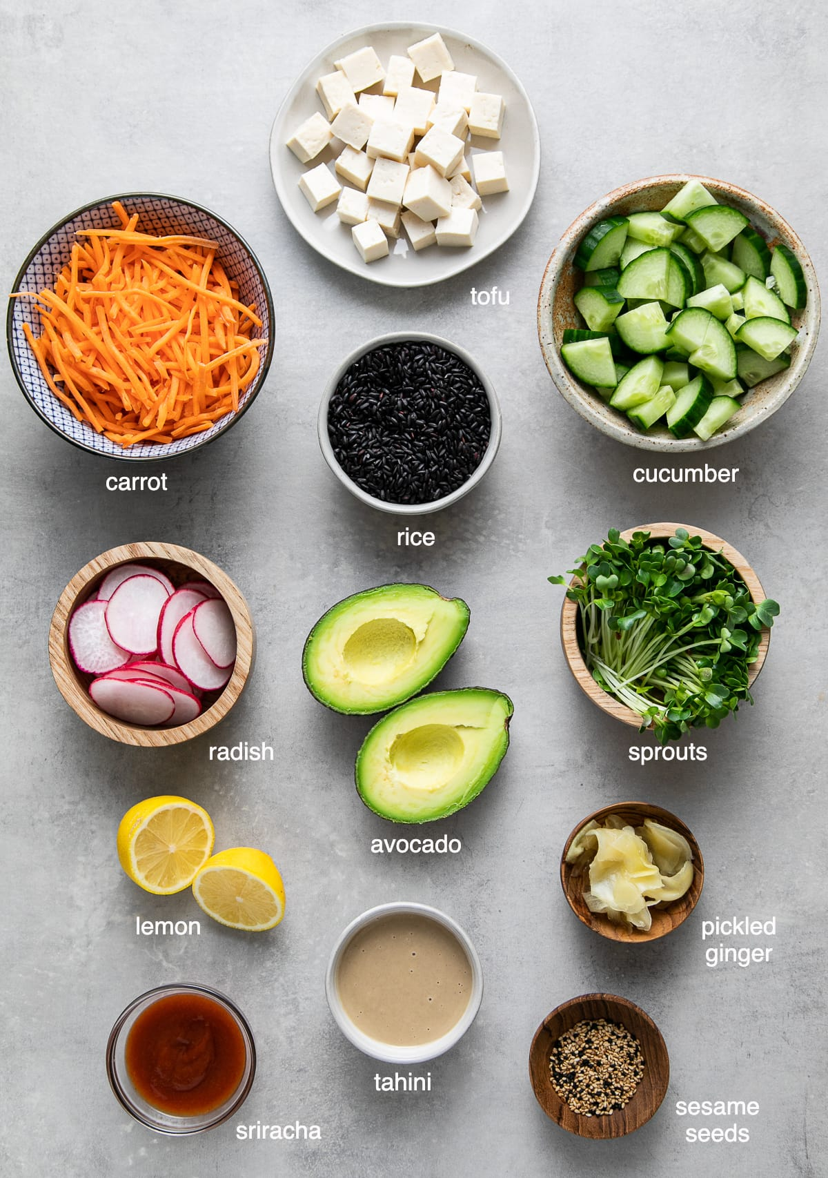 top down view of ingredients used to make vegan sushi bowl recipe.