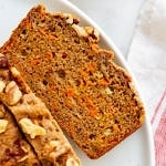 top down view of slice of carrot banana bread.
