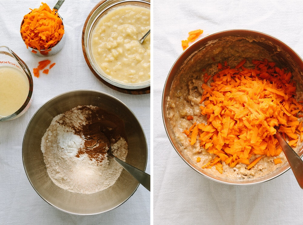 side by side photos of the process of mixing ingredients for vegan banana carrot bread.