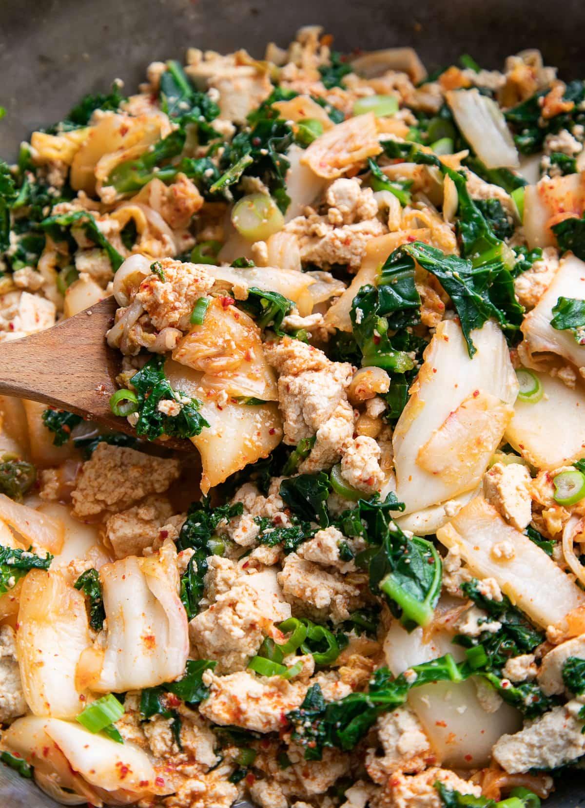 up close, side angle view of kimchi tofu scramble.