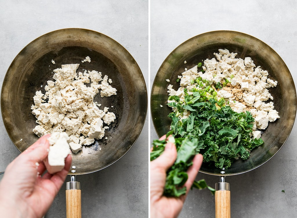 side by side photos showing the process of making tofu scramble with kale.