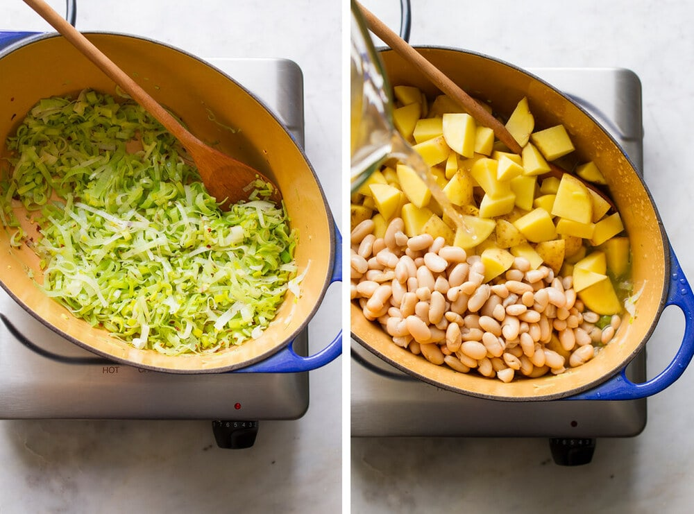 side by side photos showing the process of making potato, leek and white bean soup.
